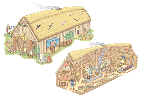 how to build a longhouse model for kids